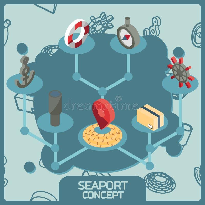 Ícones isométricos do conceito da cor do porto ilustração stock