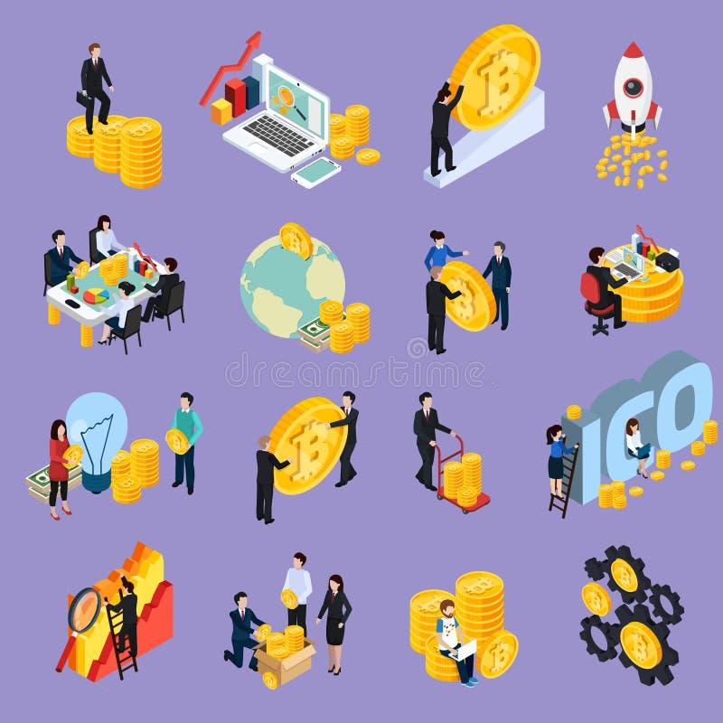 Ícones isométricos do conceito de ICO Blockchain ilustração do vetor