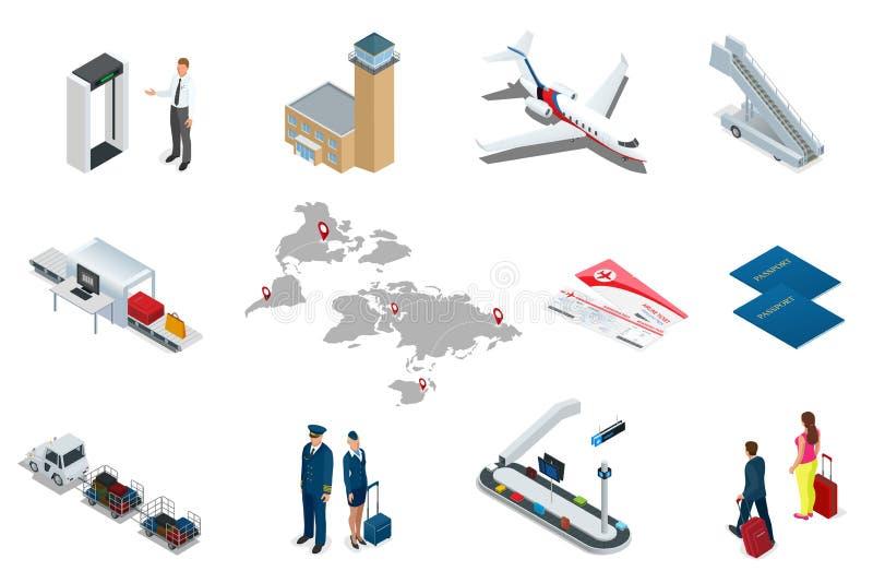 Ícones isométricos do curso e do transporte do aeroporto Povos, terminal de aeroporto, avião, homem do viajante e mulher isolados ilustração stock