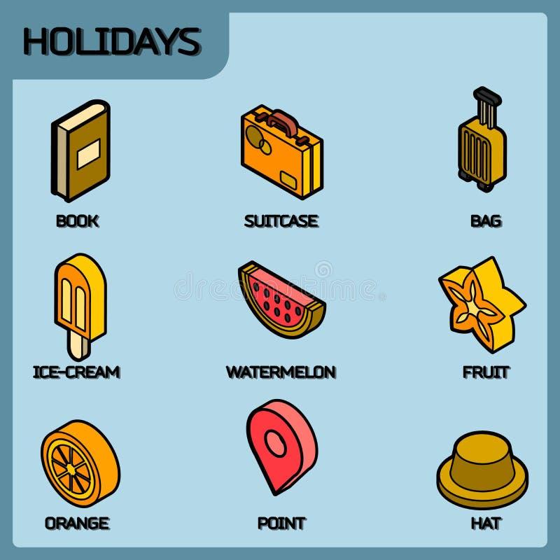 Ícones isométricos do esboço da cor dos feriados ilustração do vetor