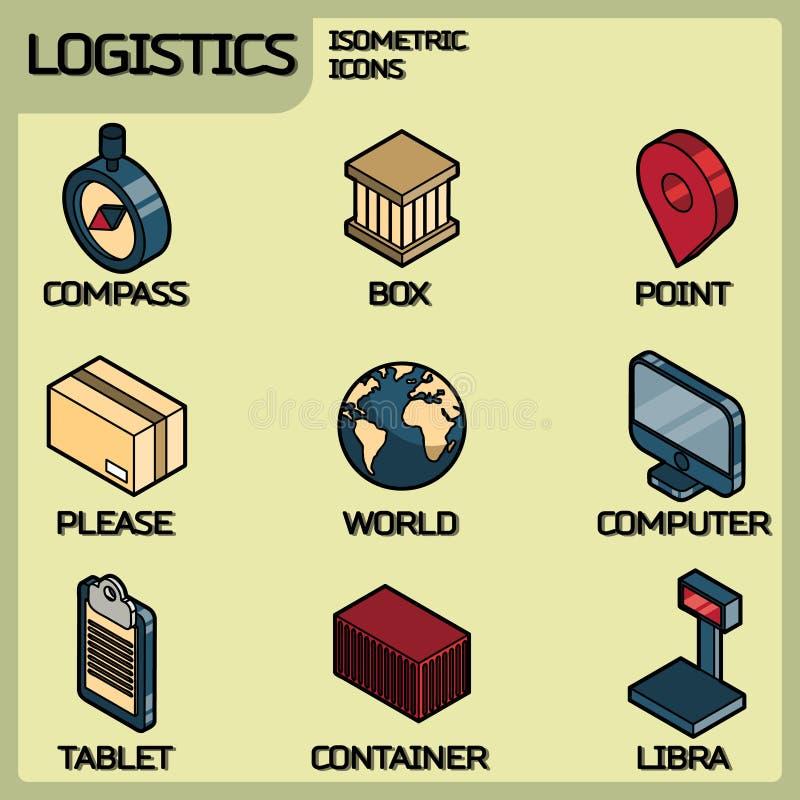Ícones isométricos do esboço da cor da logística ilustração royalty free