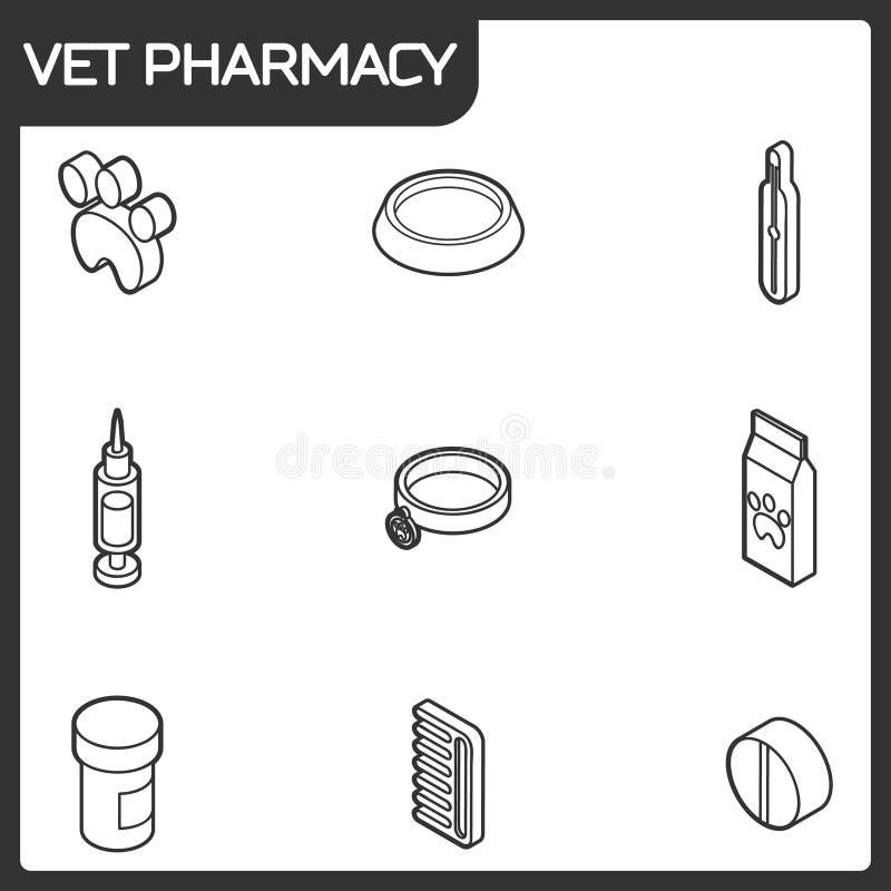 Ícones isométricos do esboço da farmácia do veterinário ilustração stock