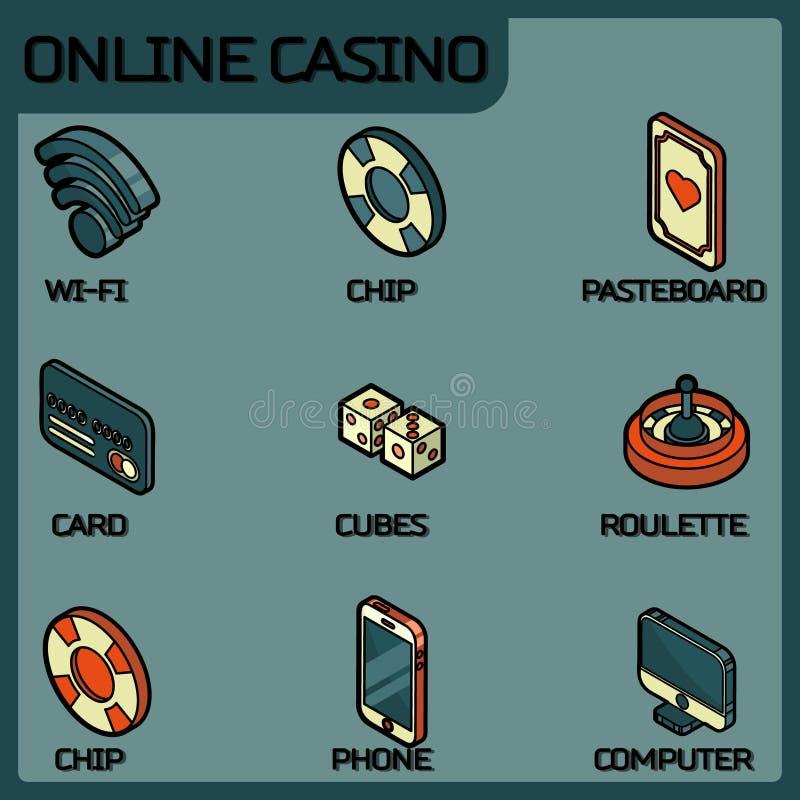 Ícones isométricos do esboço em linha da cor do casino ilustração do vetor
