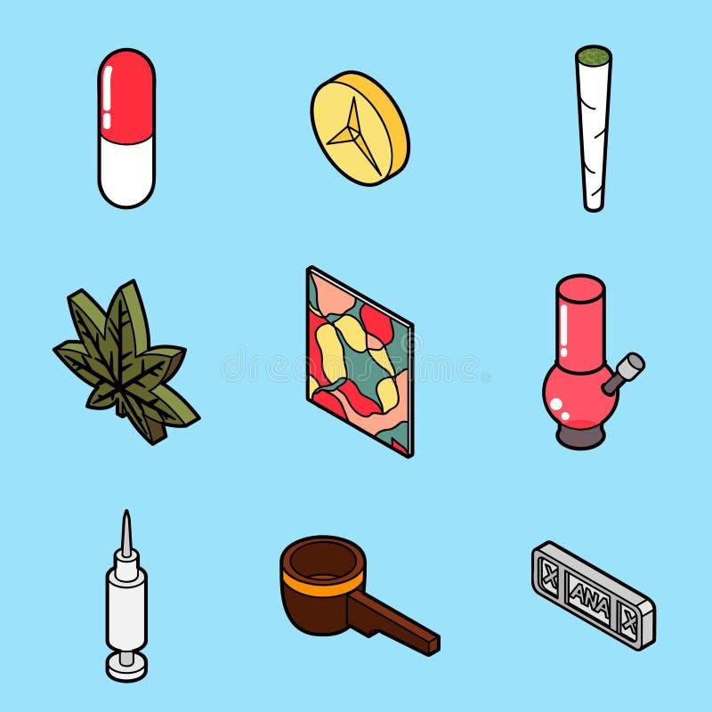 Ícones isométricos do esboço liso das drogas ilustração royalty free