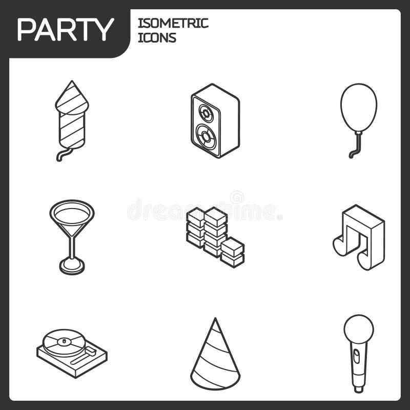 Ícones isométricos do esboço do partido ajustados ilustração stock