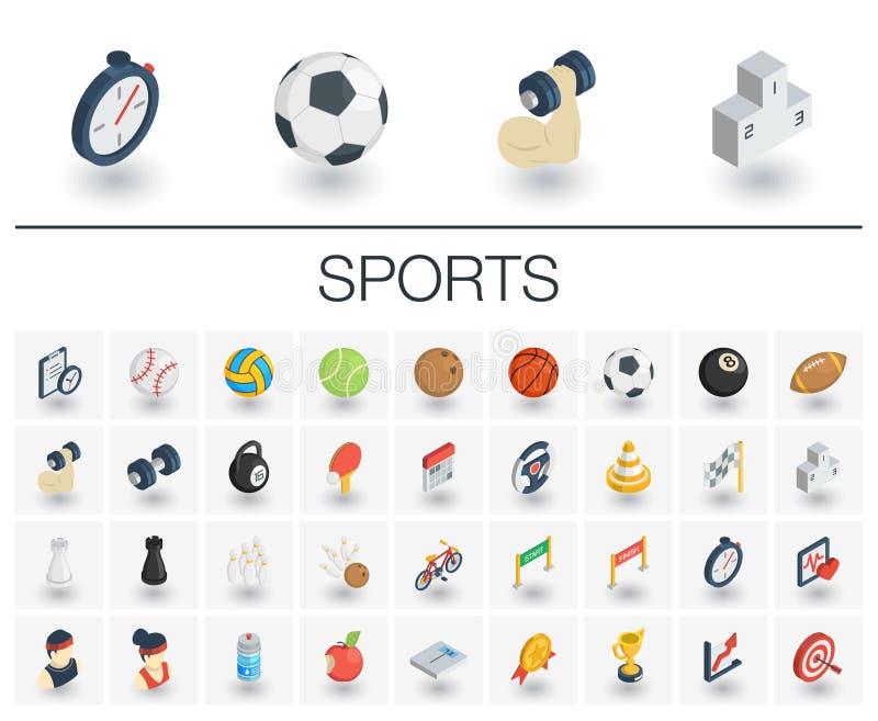Ícones isométricos do esporte e da aptidão vetor 3d ilustração royalty free
