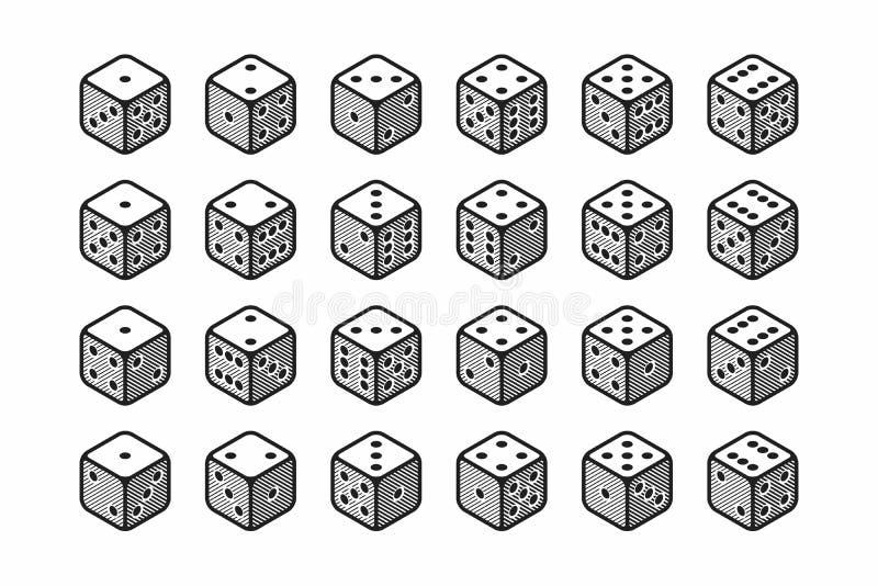 Ícones isométricos do grupo dos dados 3d ilustração royalty free