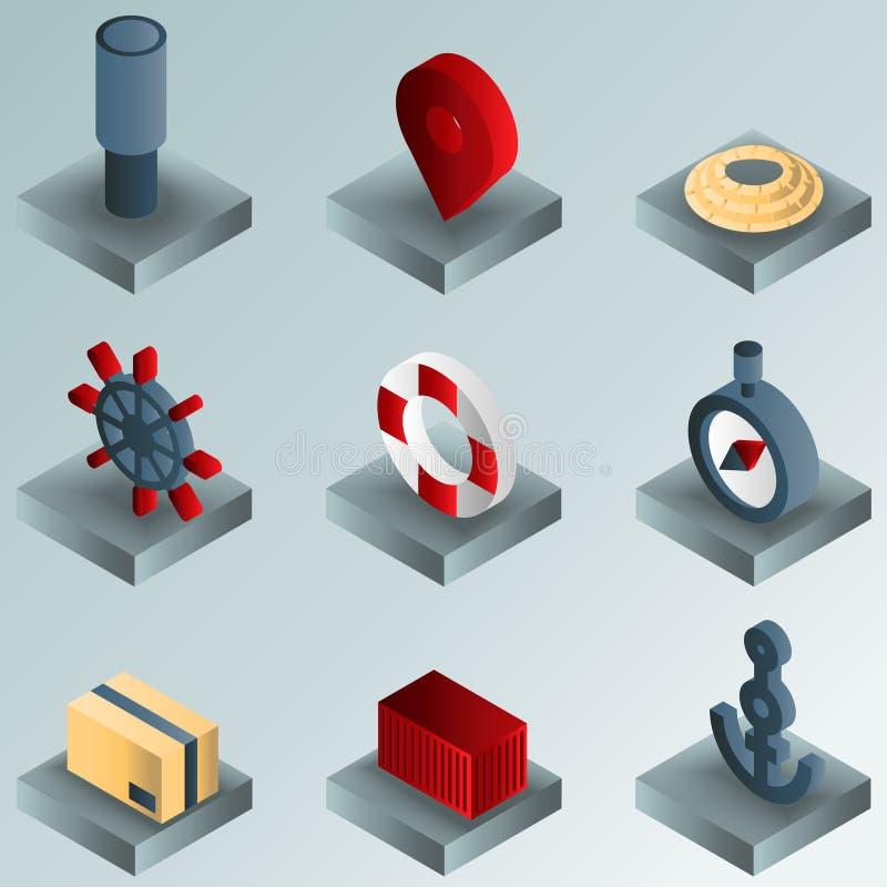 Ícones isométricos do inclinação da cor do porto ilustração royalty free