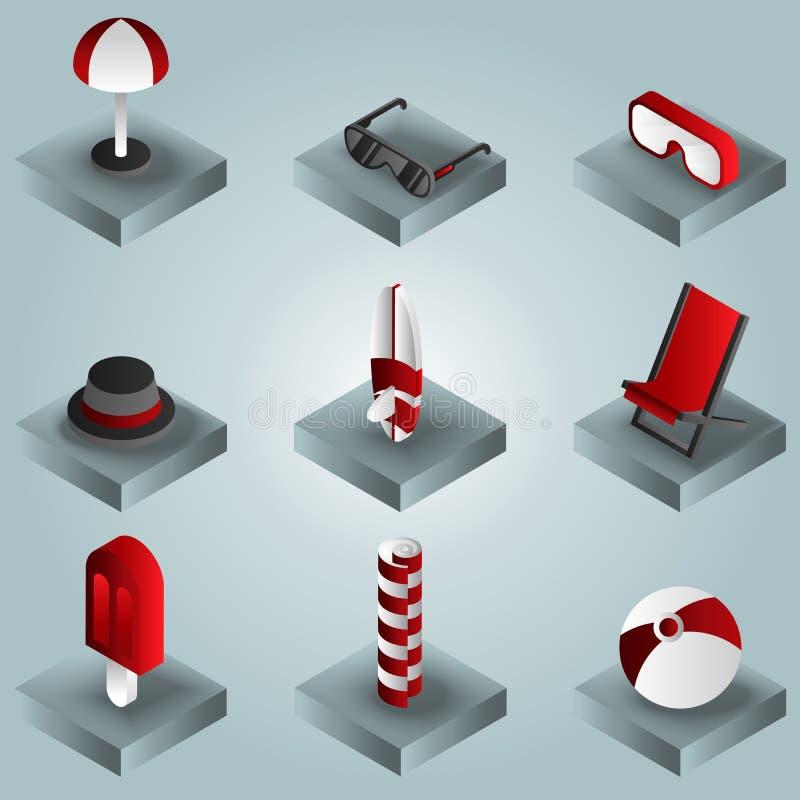 Ícones isométricos do inclinação da cor da praia ilustração royalty free