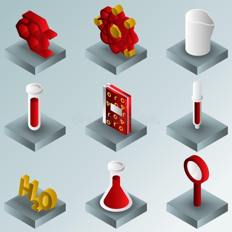 Ícones isométricos do inclinação químico da cor ilustração royalty free