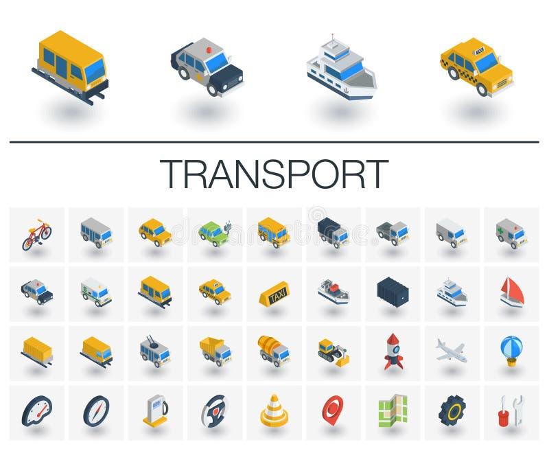 Ícones isométricos do transporte e do transporte vetor 3d ilustração do vetor