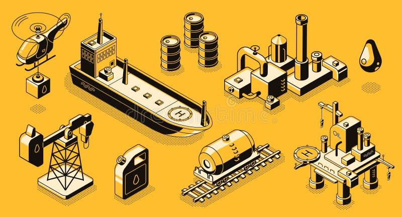 Ícones isométricos do vetor dos objetos da indústria petroleira ajustados ilustração stock