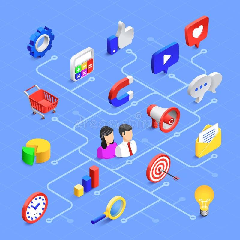 Ícones isométricos dos meios sociais Uma comunicação de mercado de Digitas, índice de multimédios ou partilha de informação Ícone ilustração royalty free