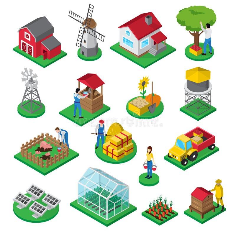 Ícones isométricos dos trabalhadores das facilidades da exploração agrícola ajustados