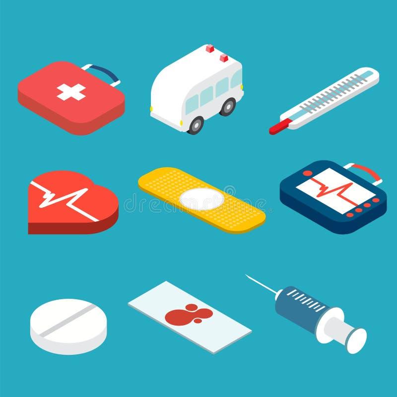 Ícones isométricos médicos ajustados Ilustração do vetor ilustração stock