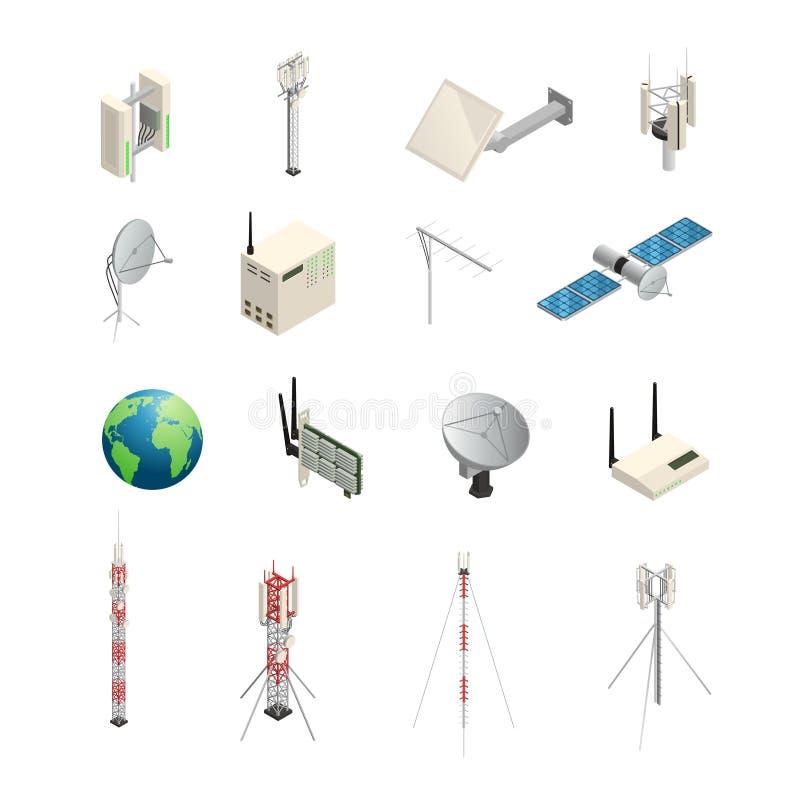 Ícones isométricos sem fio do equipamento de comunicação ilustração royalty free