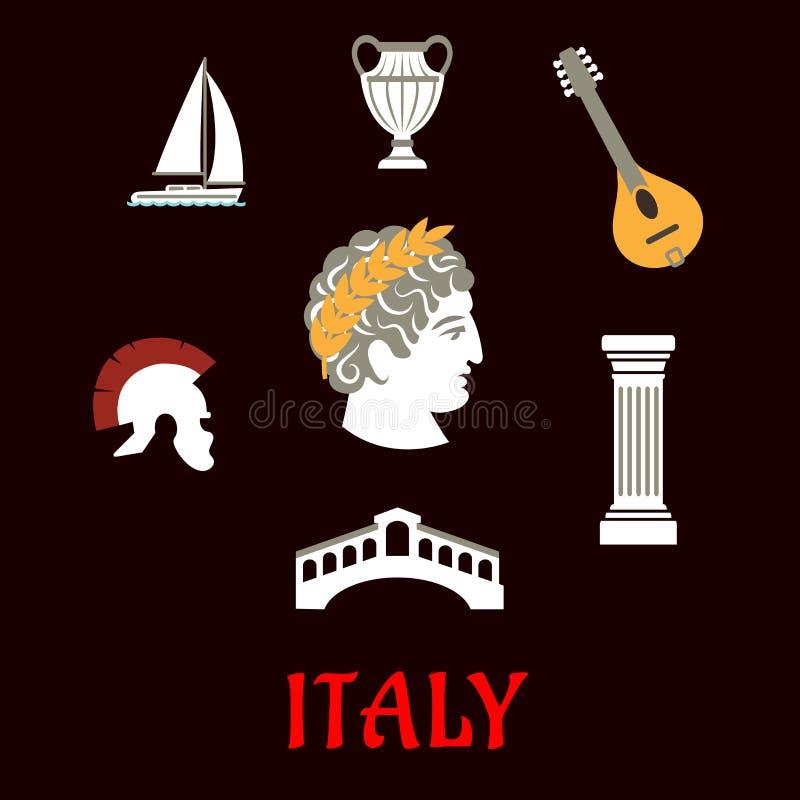 Ícones italianos da cultura e do curso ilustração stock