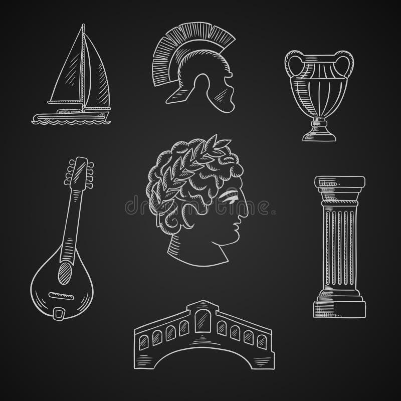 Ícones italianos da cultura e do curso ilustração royalty free