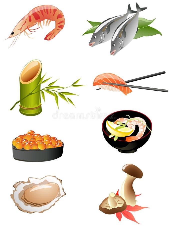Ícones japoneses tradicionais do alimento ilustração do vetor