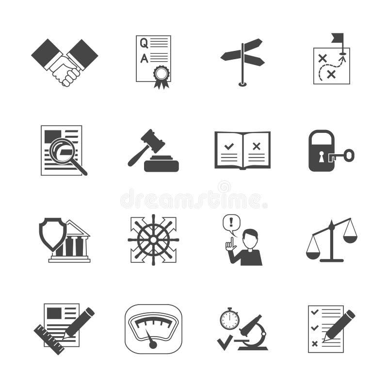 Ícones legais da conformidade ajustados ilustração stock
