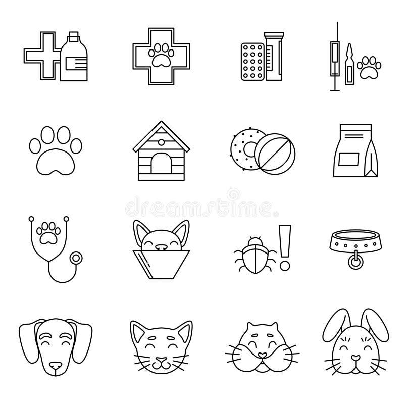 Ícones lineares ajustados da clínica veterinária Ferramentas diferentes do cuidado para animais de estimação Isolado das imagens  ilustração do vetor