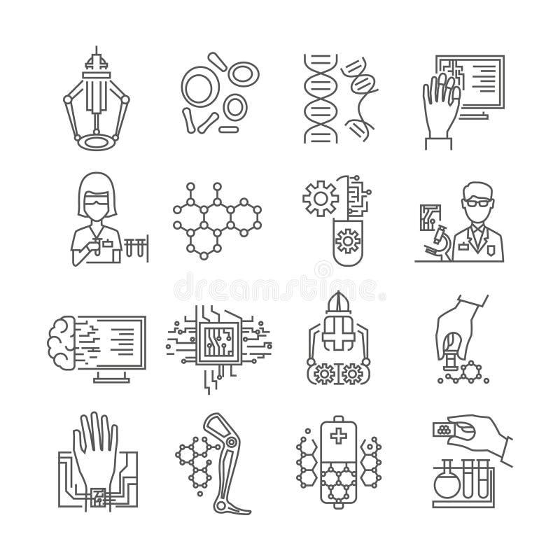 Ícones lineares da nanotecnologia ajustados ilustração stock