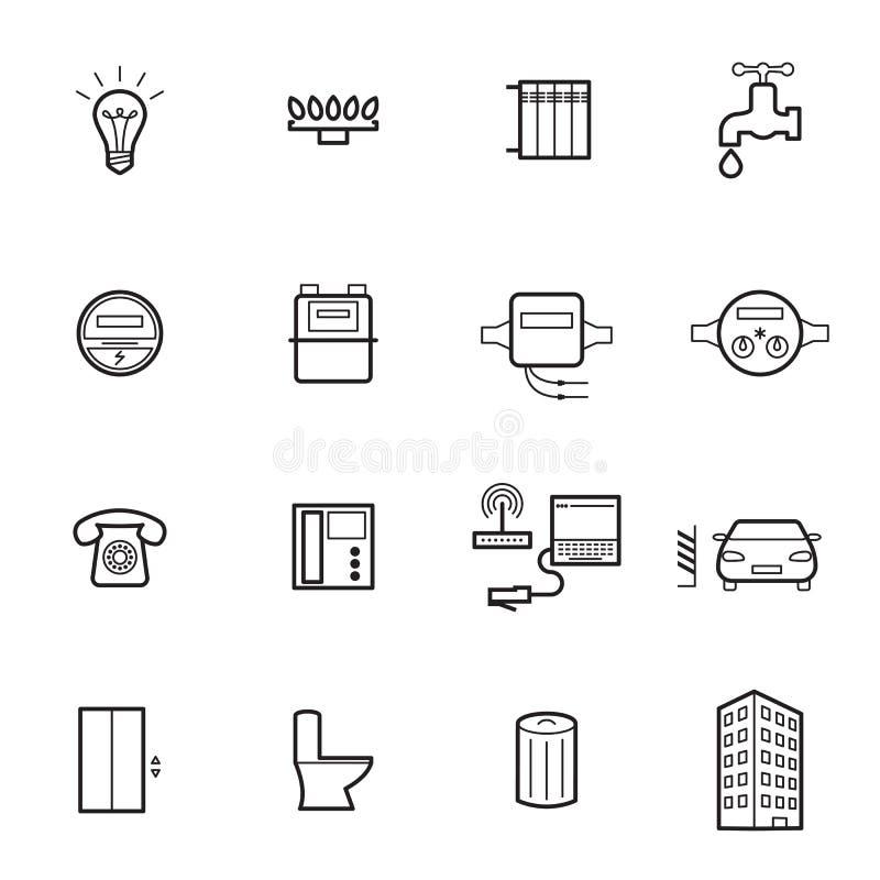 Ícones lineares das utilidades isolados em um fundo branco ilustração stock