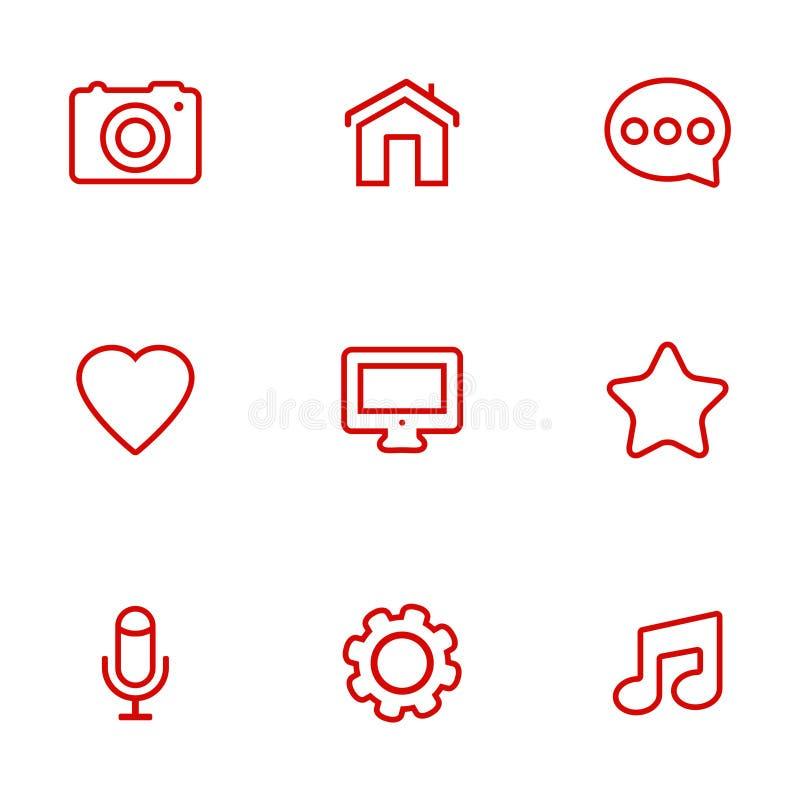 Ícones lineares de uma comunicação ajustados Ícones universais de uma comunicação a usar-se na Web e no móbil ilustração do vetor