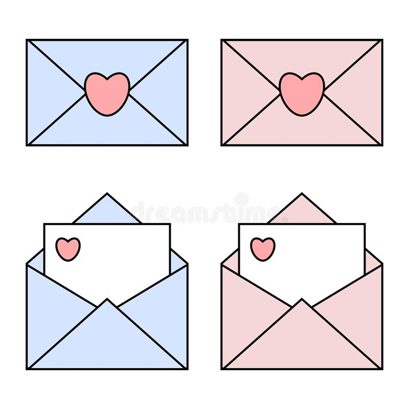 Ícones lineares do correio do azul e do rosa com selos do coração Envelopes abertos e fechados Conceito do dia de s?o valentim ilustração do vetor