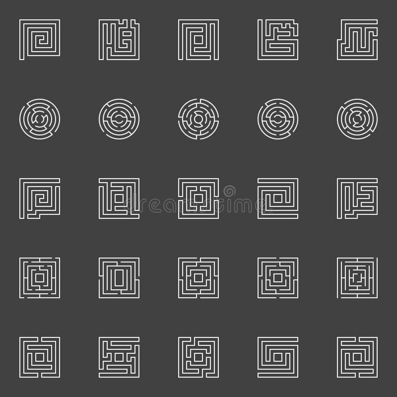 Ícones lineares do labirinto ilustração stock