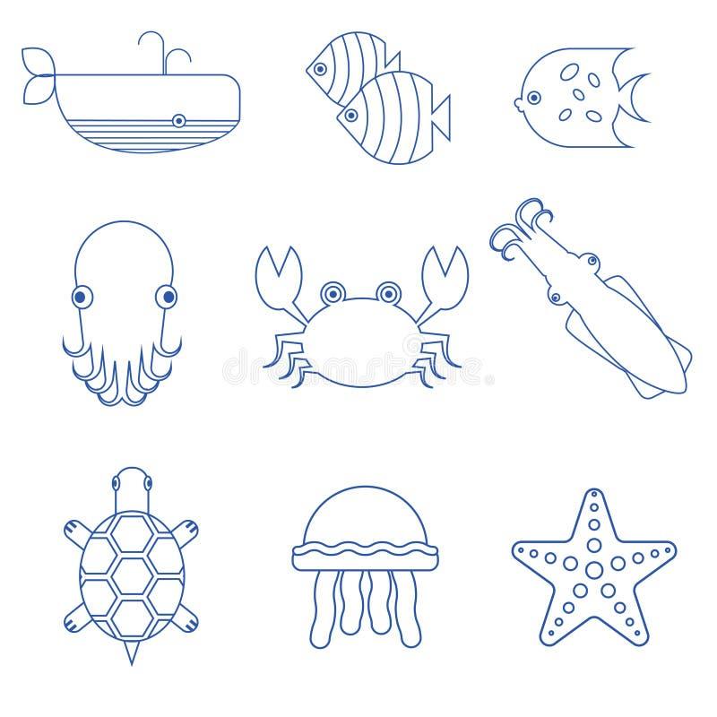 Ícones lineares do marisco, dos peixes e dos animais subaquáticos ilustração do vetor