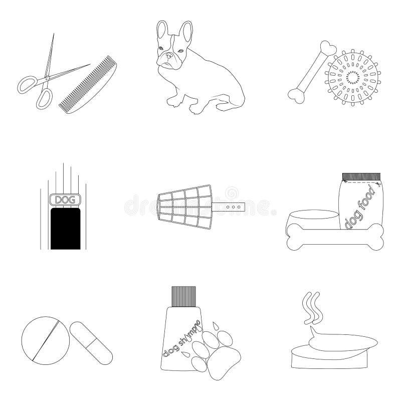 Ícones lineares dos cuidados dos animais de estimação ajustados ilustração stock