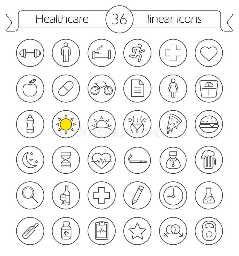 Ícones lineares dos cuidados médicos ajustados ilustração do vetor