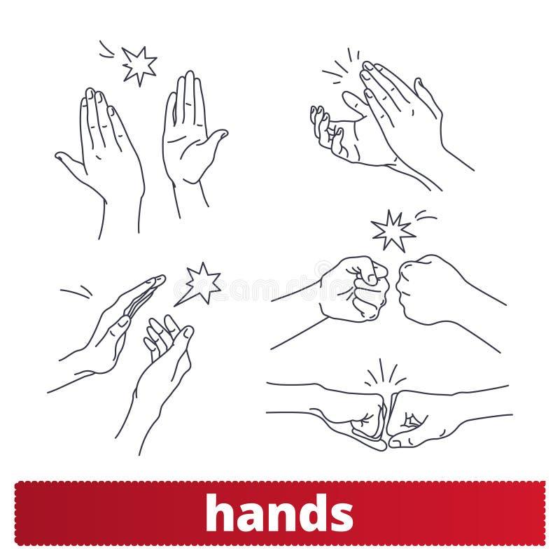 Ícones lineares dos gestos de mão Colisão do punho, cinco altos ilustração stock