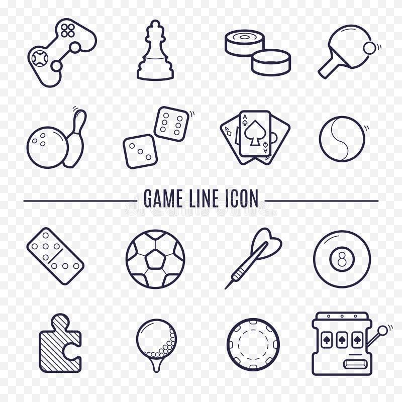 Ícones lineares dos jogos A lógica, jogando, ostenta a linha fina ícones ilustração do vetor