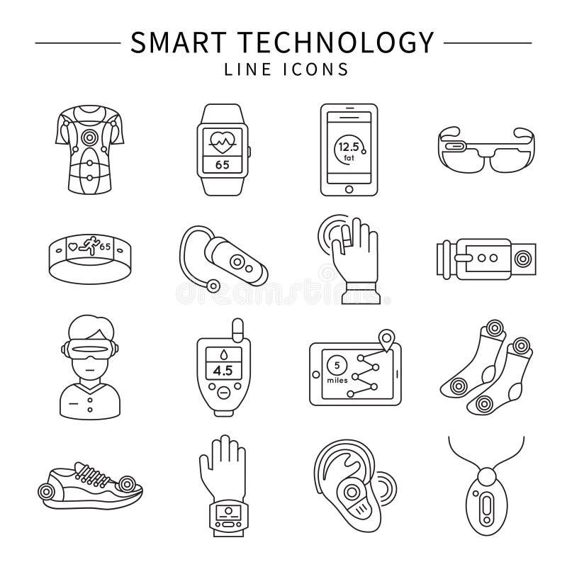 Ícones lineares monocromáticos da tecnologia esperta ilustração stock