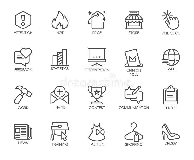 20 ícones lineares a propósito dos temas em linha de uma comunicação e da compra, do trabalho e do negócio Vetor isolado ilustração royalty free