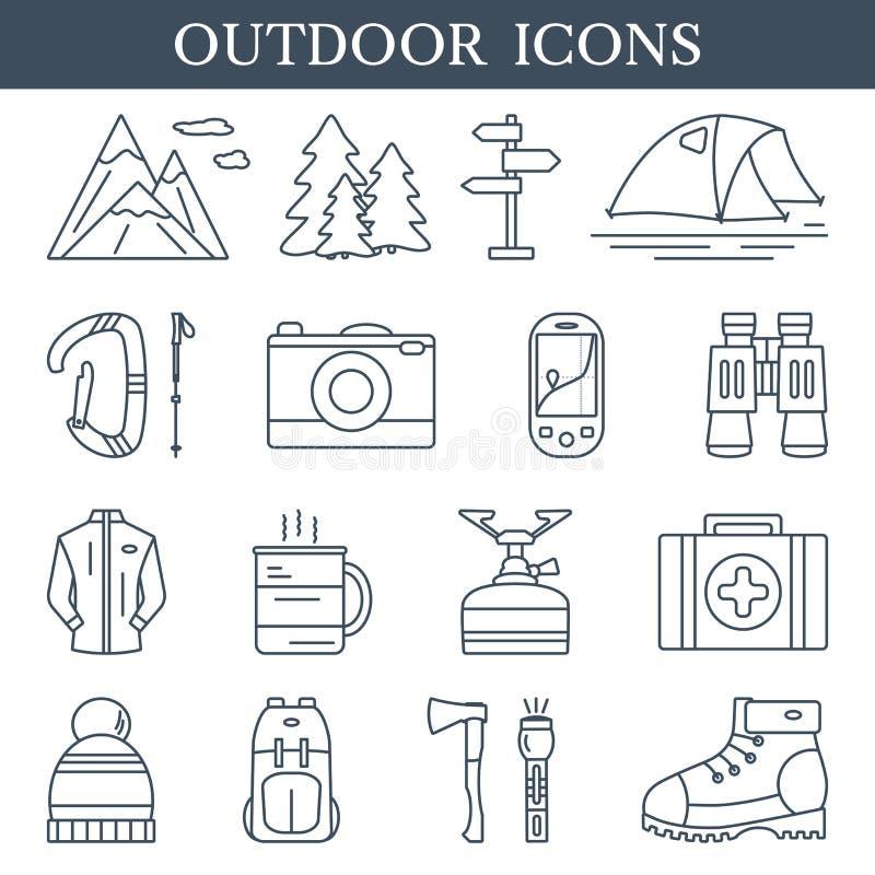 Ícones lineares Trekking e exteriores Grupo de símbolos de caminhada e de acampamento do esboço ilustração do vetor
