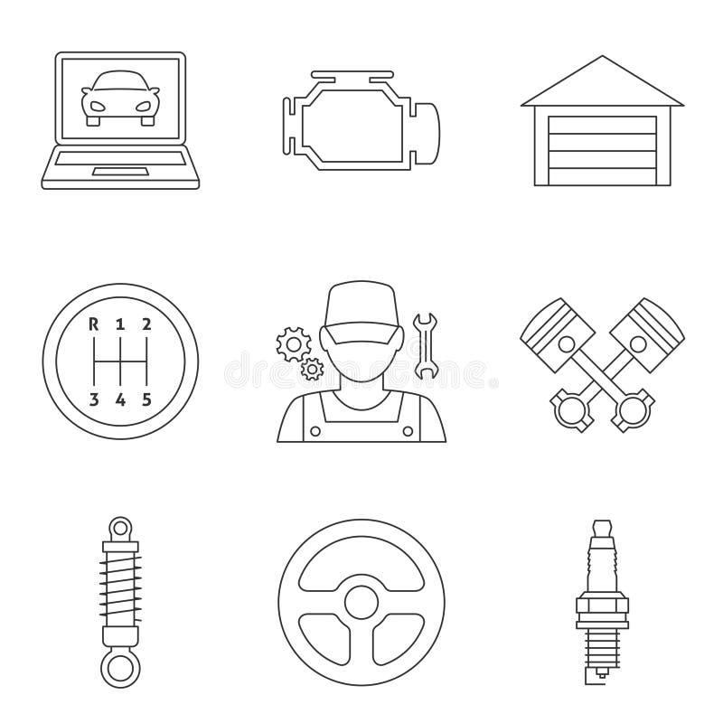 Ícones lineares vol 2 do auto serviço ilustração royalty free