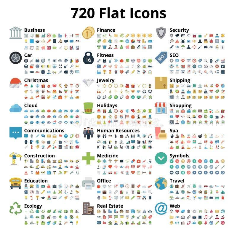 720 ícones lisos ajustados ilustração stock