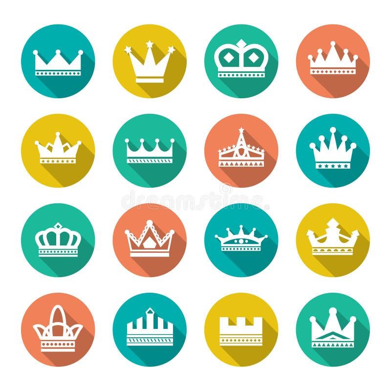 Ícones lisos ajustados da coroa ilustração royalty free