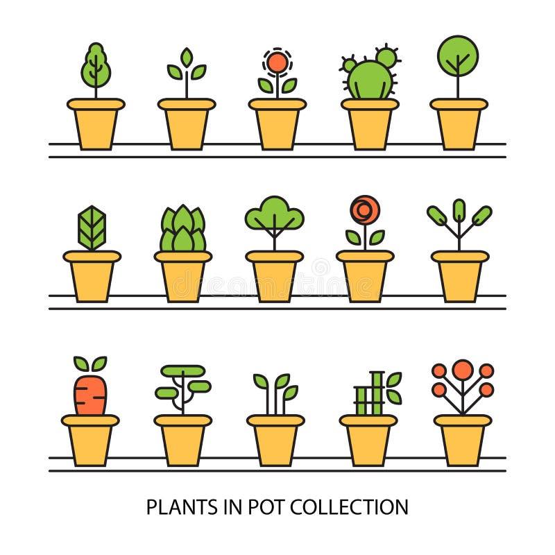 Ícones lisos ajustados do jardim das plantas de potenciômetro ilustração royalty free
