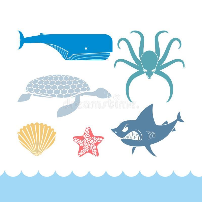 Ícones lisos ajustados do mundo subaquático Oceano dos animais Tubarão e octopu ilustração royalty free