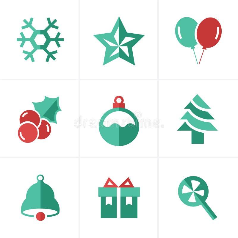 Ícones lisos ajustados, projeto do Natal do ícone do vetor ilustração royalty free