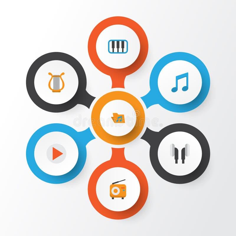 Ícones lisos audio ajustados Coleção do portfólio, piano, Tone And Other Elements ilustração stock