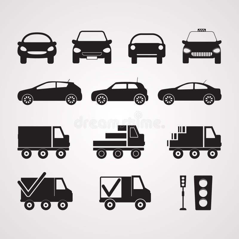 Ícones lisos cinzelados da silhueta, vetor Grupo de carros diferentes em p ilustração stock