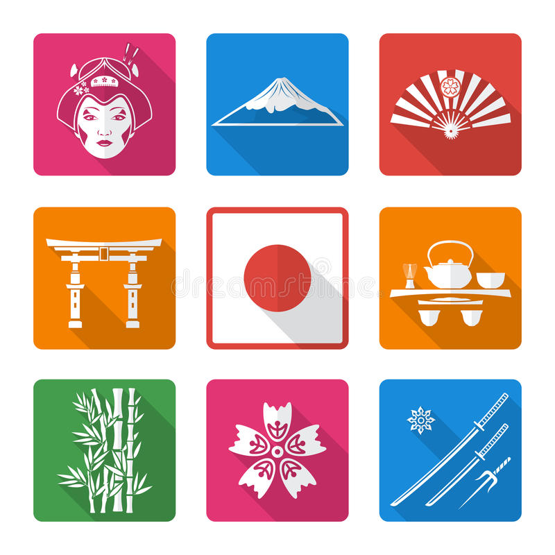Ícones lisos contínuos brancos de japão do estilo ajustados ilustração royalty free