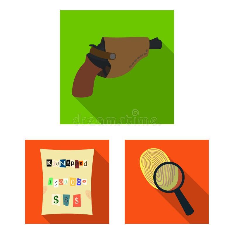 Ícones lisos da agência de detetive na coleção do grupo para o projeto O crime e a investigação vector a ilustração conservada em ilustração royalty free