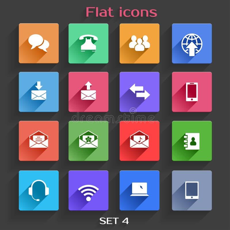 Ícones lisos da aplicação ajustados ilustração do vetor
