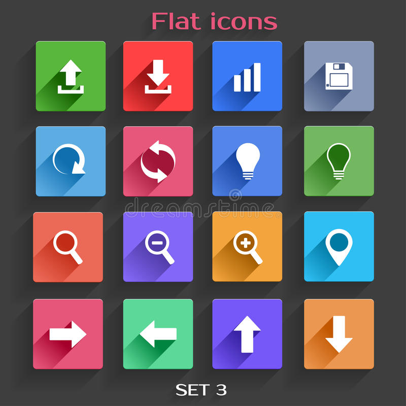 Ícones lisos da aplicação ajustados ilustração stock